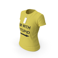 Female Crew Neck Worn With Tag Yellow Im With Stupid PNG & PSD Images