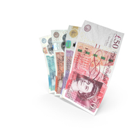 Handful of UK Pound Banknote Bills PNG & PSD Images