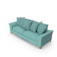 Sofa Teal with Pillows PNG & PSD Images