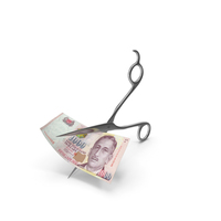 Scissors Cutting a 1000 Singapore Dollar Bill PNG & PSD Images