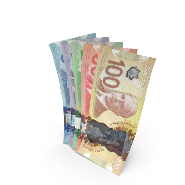 Handful of Canadian Dollar Banknote Bills PNG & PSD Images