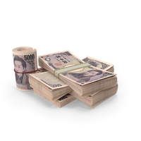 Small Pile of Japanese Yen Stacks PNG & PSD Images
