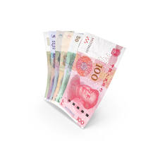 Handful of Chinese Yuan Banknote Bills PNG & PSD Images