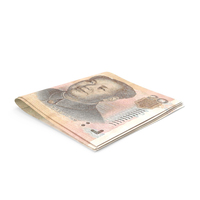 Small Folded Stack of Chinese Yuan Banknote Bills PNG & PSD Images