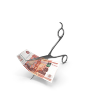 Scissors Cutting a 5000 Russian Ruble Banknote Bill PNG & PSD Images