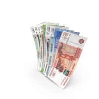 Handful of Russian Ruble Banknote Bills PNG & PSD Images