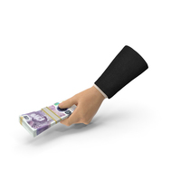 Suit Hand Holding a 20 UK Pound Banknote Bills Stack PNG & PSD Images