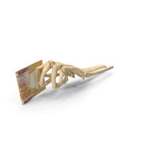 Skeleton Hand Holding South African Randl Banknotes PNG & PSD Images