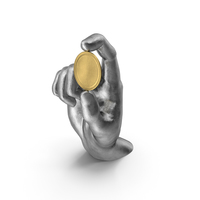 Silver Hand Holding a Golden Medallion Coin PNG & PSD Images