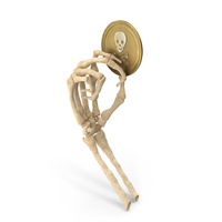 Skeleton Hand Holding a Skull Coin PNG & PSD Images