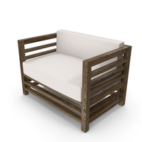1 Seater Wood Outdoor Sofa PNG & PSD Images