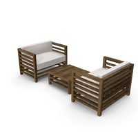 Set of Wood Outdoor Sofas and Table PNG & PSD Images