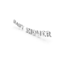 Foil Baloon Words Baby Shower Silver PNG & PSD Images