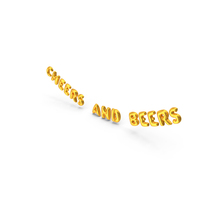 Foil Balloon Words Cheers and Beers Gold PNG & PSD Images