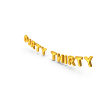 Foil Balloon Words Dirty Thirty Gold PNG & PSD Images