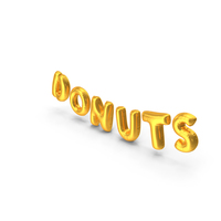 Foil Balloon Words Donuts Gold PNG & PSD Images