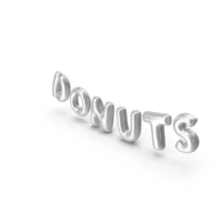 Foil Balloon Words Donuts Silver PNG & PSD Images