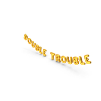 Foil Balloon Words Double Trouble Gold PNG & PSD Images