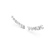 Foil Balloon Words Forever Young Silver PNG & PSD Images