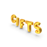 Foil Balloon Words Gifts Gold PNG & PSD Images