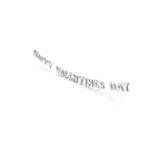 Foil Balloon Words Happy Valentines Day Silver PNG & PSD Images