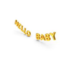 Foil Balloon Words Hello Baby Gold PNG & PSD Images