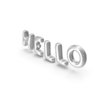 Foil Balloon Words Hello Silver PNG & PSD Images