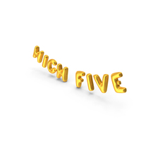 Foil Balloon Words High Five Gold PNG & PSD Images