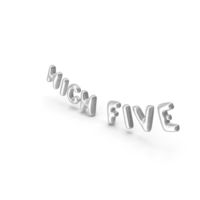 Foil Baloon Words High Five Silver PNG & PSD Images