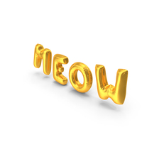 Foil Baloon Words Meow Gold PNG & PSD Images