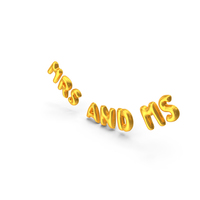 Foil Baloon Words Mrs and Mr Gold PNG & PSD Images
