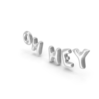 Foil Balloon Words Oh Hey Silver PNG & PSD Images