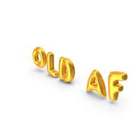 Foil Balloon Words Old AF Gold PNG & PSD Images
