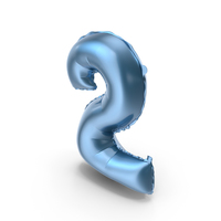 Foil Balloon Digit Two Blue PNG & PSD Images