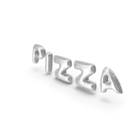 Foil Balloon Words PIZZA Silver PNG & PSD Images