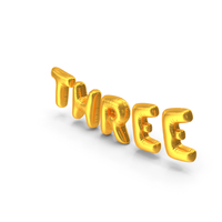 Foil Balloon Words Three Gold PNG & PSD Images