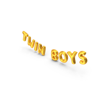 Foil Baloon Words Twin Boys Gold PNG & PSD Images