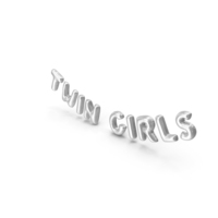 Foil Balloon Words Twin Girls Silver PNG & PSD Images