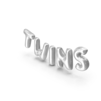 Foil Balloon Words Twins Silver PNG & PSD Images