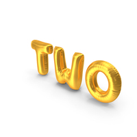 Foil Balloon Words Two Gold PNG & PSD Images