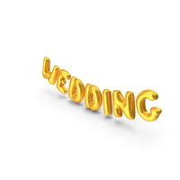 Foil Balloon Words WEDDING Gold PNG & PSD Images