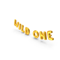Foil Balloon Words Wild One Gold PNG & PSD Images