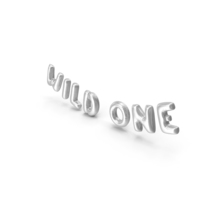 Foil Balloon Words Wild One Silver PNG & PSD Images