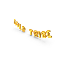 Foil Balloon Words Wild Tribe Gold PNG & PSD Images