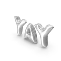 Foil Balloon Words Yay Silver PNG & PSD Images