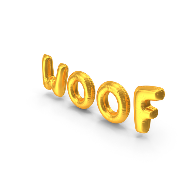 Foil Balloon Words Woof Gold PNG & PSD Images