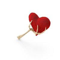 Skeleton Hand Holding a Fluffy Heart PNG & PSD Images