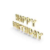 Foil Balloon Gold Words Happy Birthday PNG & PSD Images