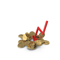 Gold Coins with Down Arrow PNG & PSD Images