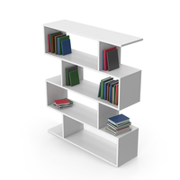 Book Case White With Books PNG & PSD Images